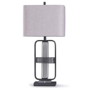 Funen - One Light Framed Cross Design Banded Table Lamp