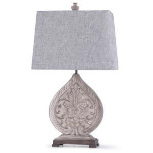 Elstree - One Light Carved Floral Teardrop Table Lamp