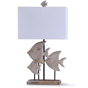 Rona - One Light Carved Fishes Table Lamp