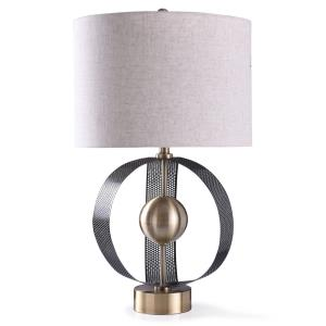 Havant - One Light Sculptural Perforated Metal Arches with Centered Ball Table Lamp