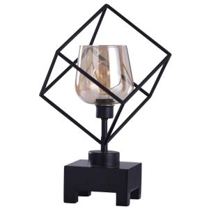 Axis - One Light Open Cubed Frame Uplight Table Lamp with Pedestal Base