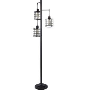 Three Light Caged Cylinder Floor Lamp
