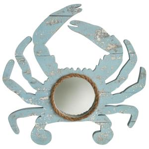Weathered Crab - 18 Inch Crab Outline with Center Round Mirror and Natural Rope Detail