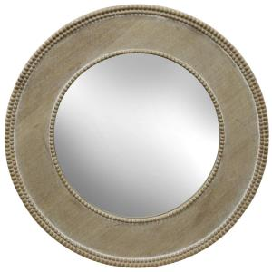 Speculum - 23.54 Inch Round Wood Frame Mirror with Beaded Trim