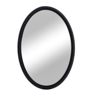 "Speculum - 25.2"" Oval Wood Frame Mirror with Beaded Trim"