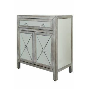 33.8 Inch 2 Door Single Drawer Mirrored Chest