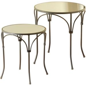 """17.7"""" Round Mirror-Inset Side Table (Set of 2)"""