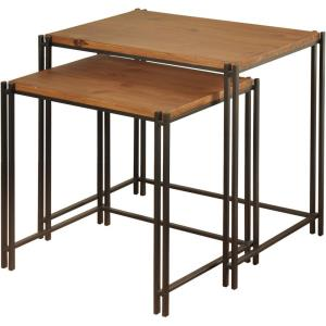"18"" Medium Wood Nesting Tables (Set of 2)"