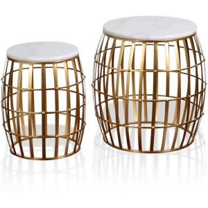 "Gold Cage - 20.5"" Marble Top Nesting Table (Set of 2)"