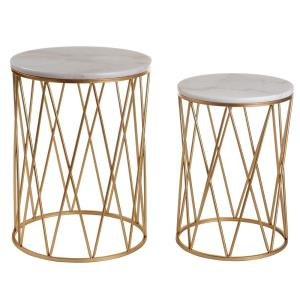 22 Inch Round Marble Top Nesting Accent Tables with Cage Base (Set of 2)