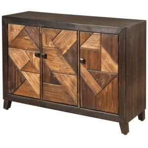 Displaced - 15 Inch Chevron Patterned 3 Door Credenza