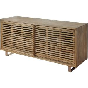 62 Inch Media Cabinet with Sliding Doors and 4 Drawers