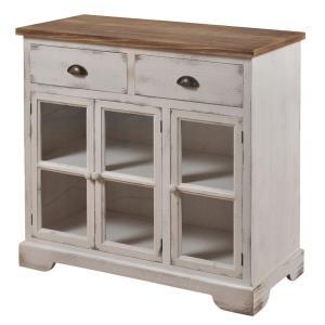 Shabby Chic - 36 Inch 3 Door/2 Drawer Window Pane Cabinet