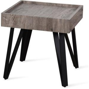 """Lilly - 25"""" Free Form Teak Root Table Top with Three Tapered Metal Legs"""