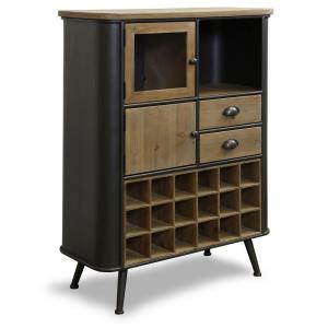 44 Inch Wine Cabinet with Rounded Corners and Splayed Legs