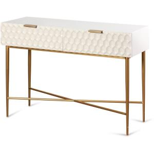42 Inch Textured 2 Drawer Console Table with Hardware