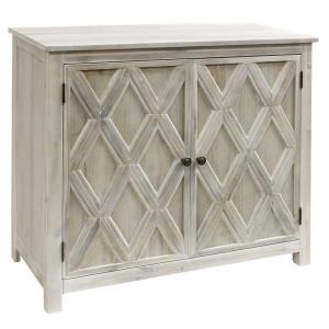 Crosshatch - 39 Inch Two-Door Acacia Cabinet with Metal Base and Adjustable Shelf