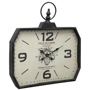 Adornment - 28.74 Inch Rectangular Ville de Paris Wall Clock with Glass Front