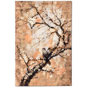 Birds On Branch - 47.2 Inch Stretched Canvas Wall Art
