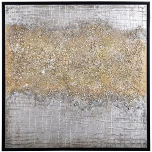 Silver & Gold Rupture - 40 Inch Canvas Abstract Wall Print