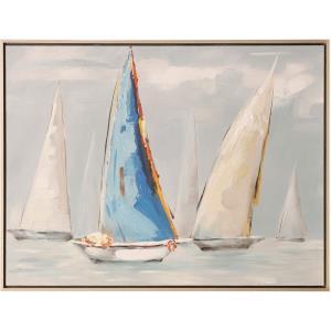 Blue Sail Nautica - 48 Inch Canvas Sailboat Wall Print