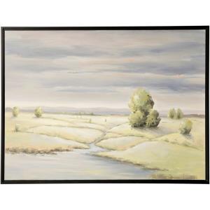 Field Brook - 48 Inch Landscape Hand Embellished Stretched Canvas Print