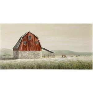 Old Red Barn - 55 Inch Barn Landscape Canvas Wall Art