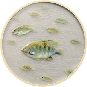 Porthole A - 26 Inch School of Fish Glass Wall Art Two