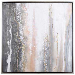 40 Inch Hand Painted Gold Veins Abstract Canvas Wall Art