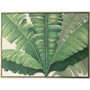 36 Inch Hand Painted Palm Fronds Canvas Wall Art