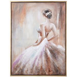 48 Inch Hand Painted Ballerina Canvas Wall Art