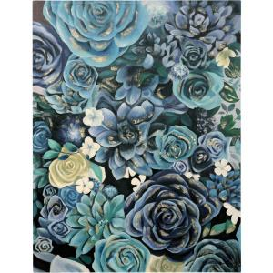 50 Inch Hand Painted Floral Cluster Canvas Wall Art