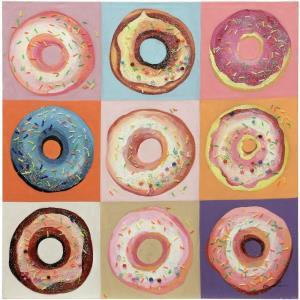 36 Inch Hand Painted Pop Art Donut Canvas Wall Art