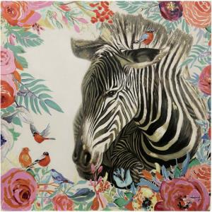 36 Inch Hand Painted Floral Edged Zebra Canvas Wall Art