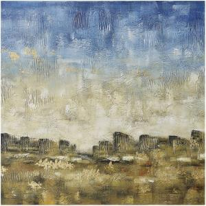 """Adornment - 40"""" Abstract Sky Line Textured Hand Painting on Stretched Canvas"""