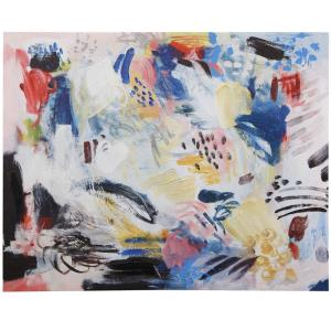 Abstract Monochrome V - 30 Inch Abstract Hand Embellished Painting on Stretched Canvas