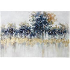 """Blue Night Forest - 47.5"""" Hand Painting on Stretched Canvas"""