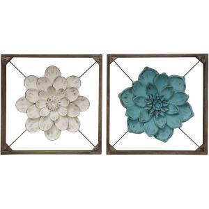 16 Inch Box Framed Metal Flower Wall Sculpture (Set of 2)