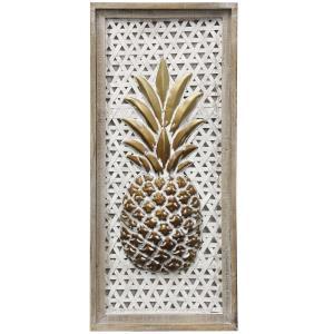 "Pinapple - 29.33"" Wood Framed Dimensional Metal Wall Panel"