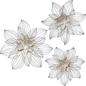 """27"""" Flower Bloom with Wire Petals Metal Wall Sculpture (Set of 3)"""