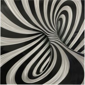 39 Inch Swirl Patterned Wall Art Panel