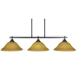 """Odyssey 3 Island Light Shown In Matte Black Finish With 12"""" Cayenne Linen Glass"""