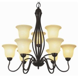 Glasswood - Nine Light 2-Tier Chandelier