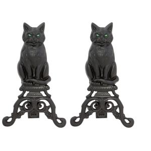 "17"" Cat Andiron with Glass Eyes"