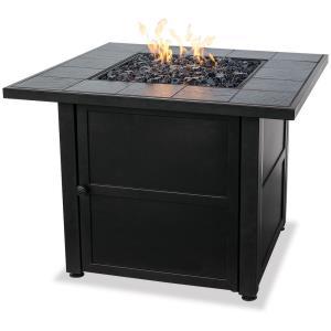 "Uniflame - 32.1"" Liquid Propane Gas Outdoor Firebowl with Slate Tile Mantel"