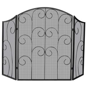 "52"" 3 Panel Screen With Decorative Scroll"