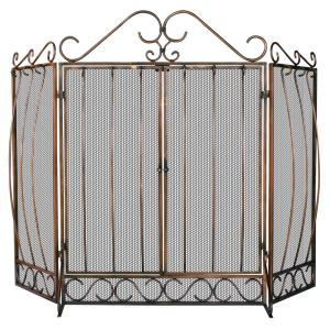 """56"""" 3 Fold Screen With Bowed Bar Scrollwork"""