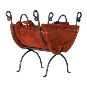 "23"" Log Holder With Suede Leather Carrier"