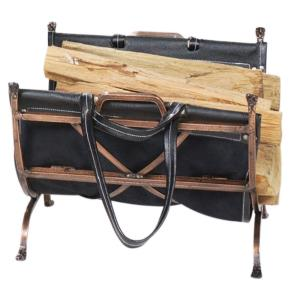 "22"" Log Holder With Leather Carrier"
