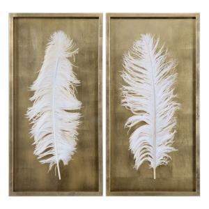 White Feathers - 34 Inch Shadow Box (Set of 2)